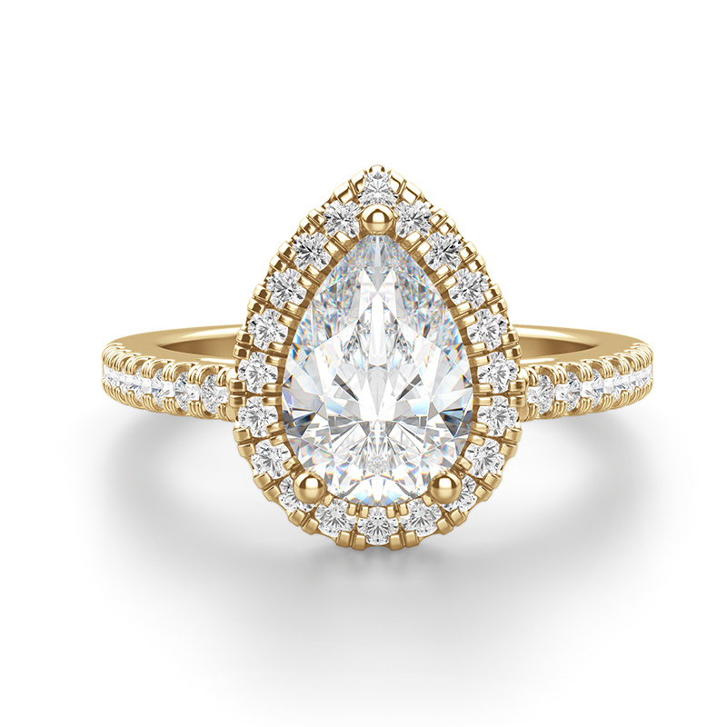 A pear shaped stone in a halo setting
