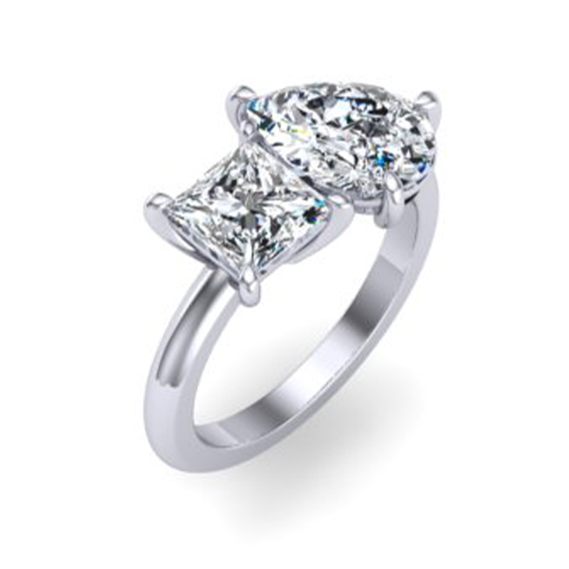 An engagement ring in a two-stone setting