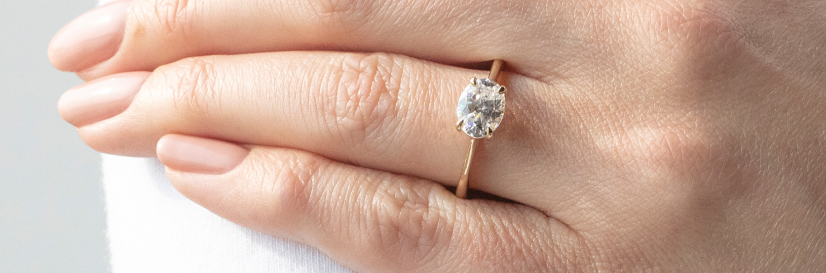 An oval cut engagement ring