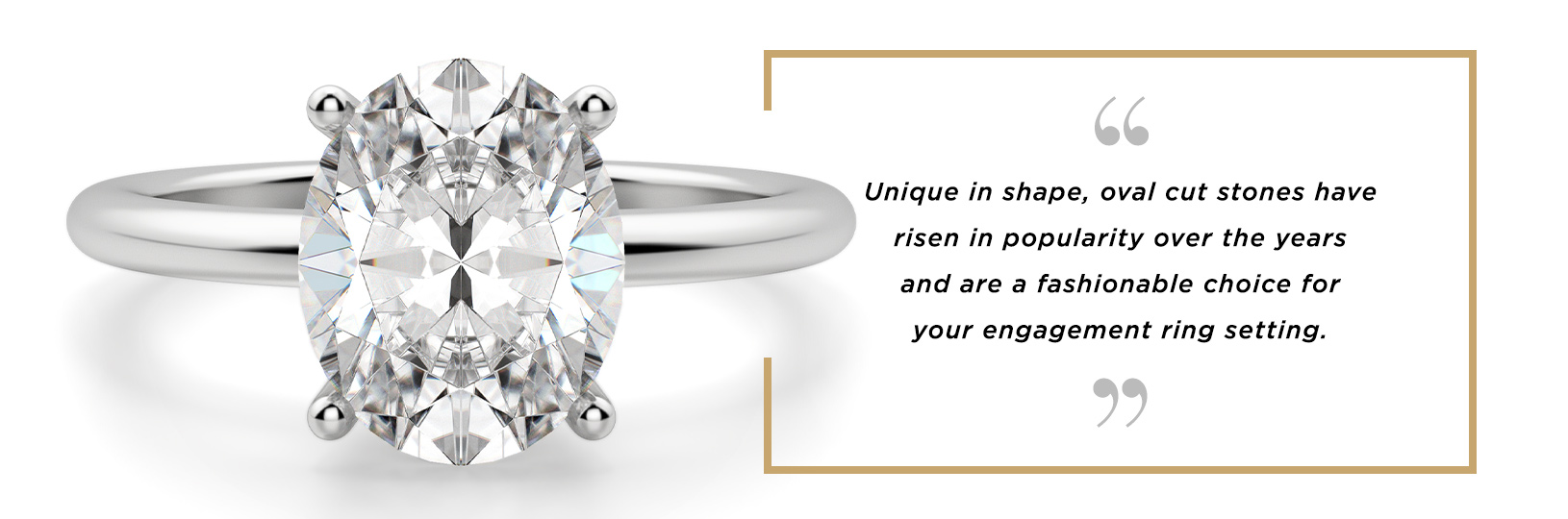 A white gold oval engagement ring