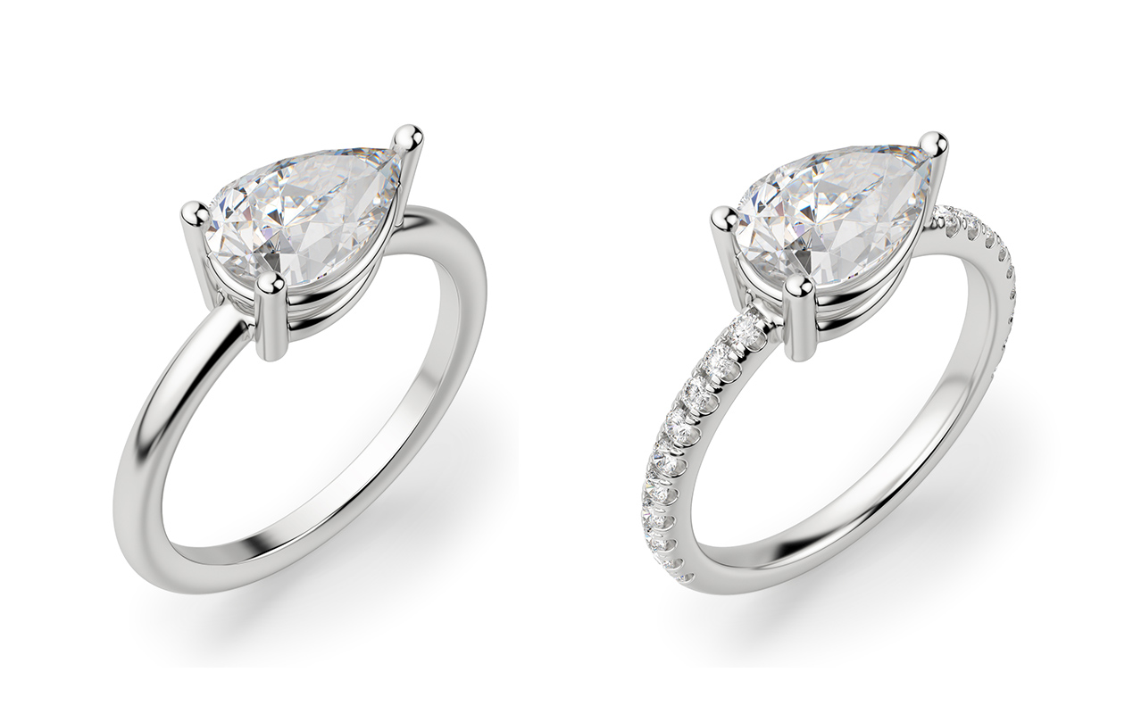 A solitaire and accented band compared side-by-side