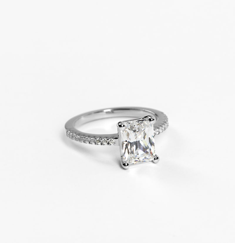 An accented white gold engagement ring