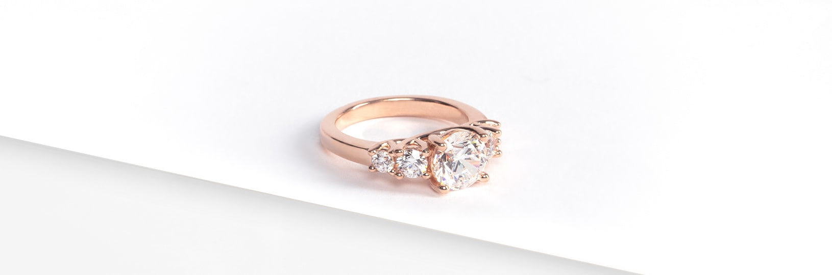 A rose gold engagement ring setting
