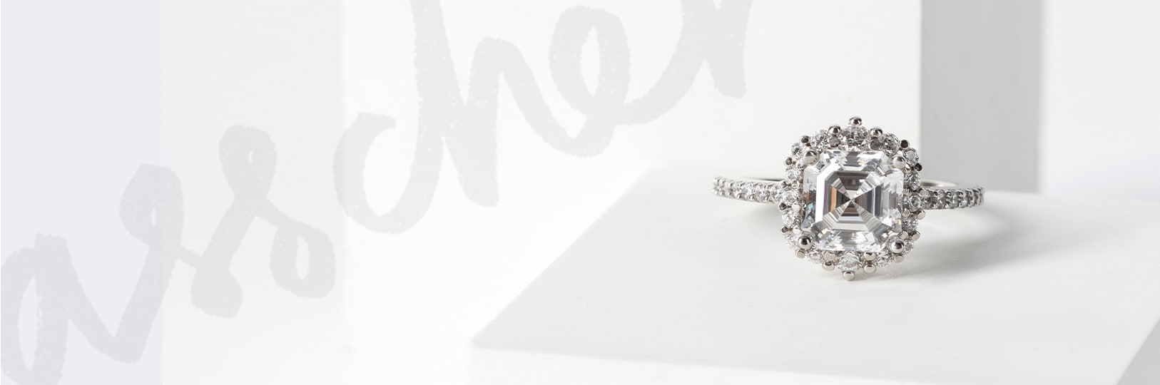 Asscher cut engagement ring with a halo setting