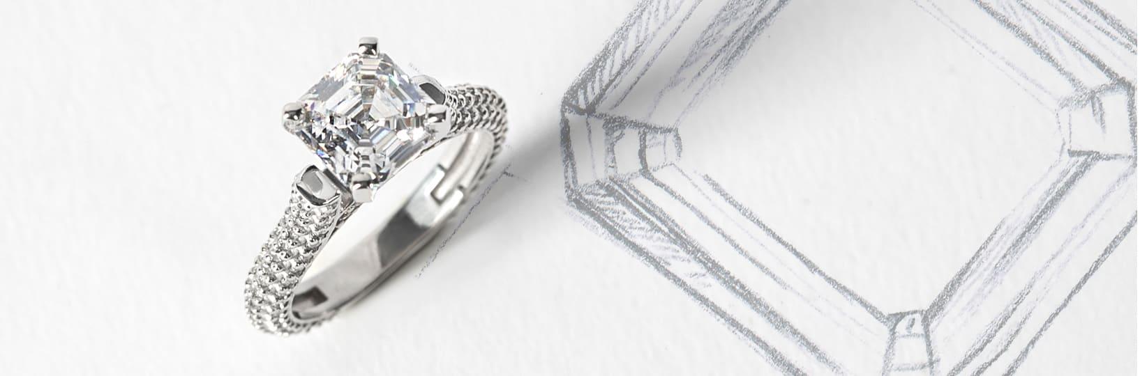 Asscher cut engagement ring with Asscher cut sketch