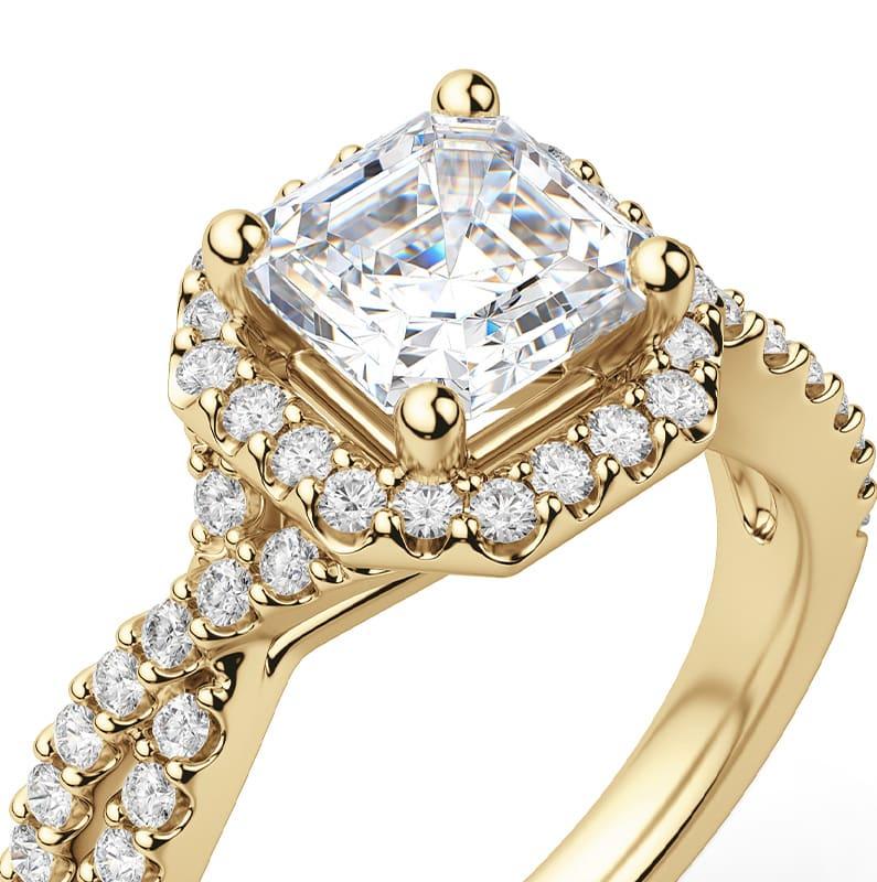 Asscher cut halo ring