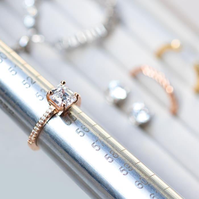 A Diamond Nexus accented Asscher cut engagement ring.