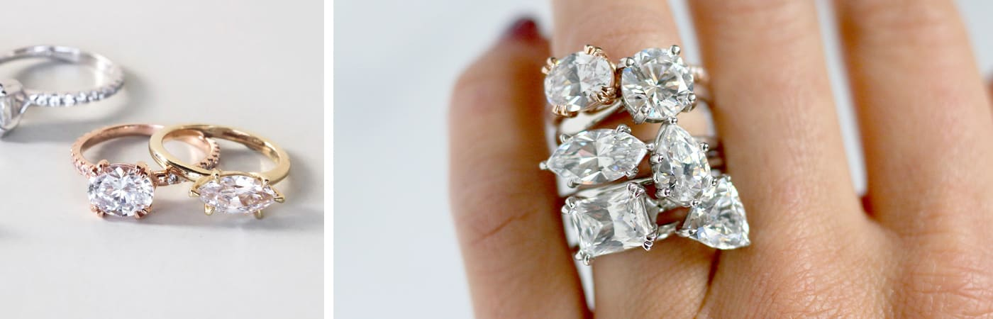 Three east-west set Diamond Nexus engagement rings. Multiple east-west set Diamond Nexus engagement rings stacked together.