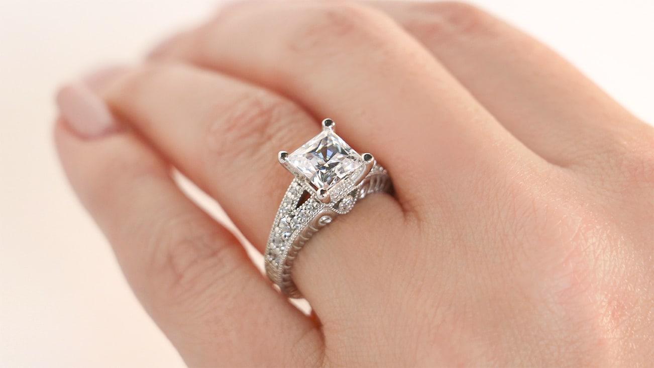 Valencia Princess Cut Engagement Ring from Diamond Nexus