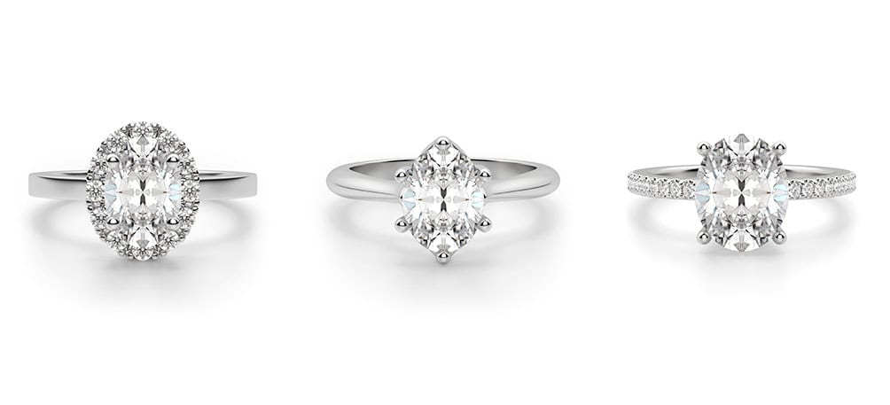 Three Diamond Nexus engagement rings featured in a classic, tapered and accented band.