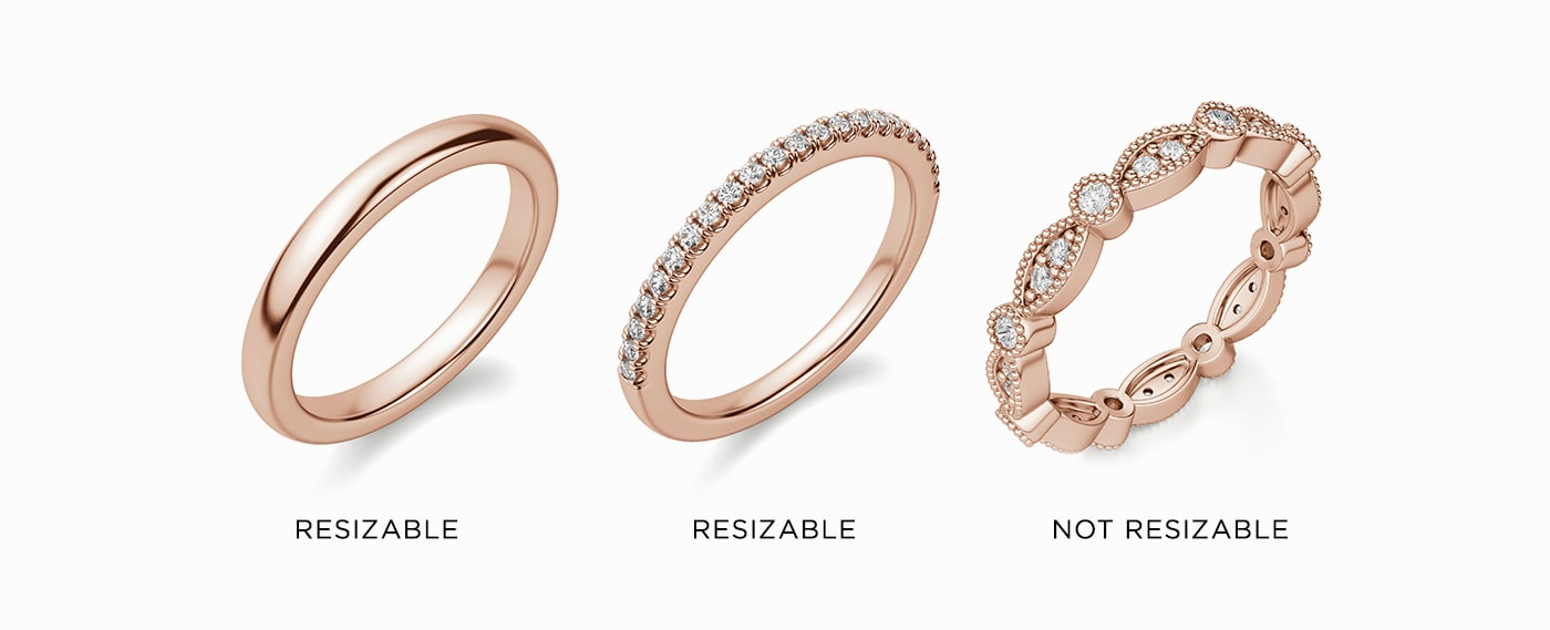 A plain band, accented band and eternity band shown next to each other.