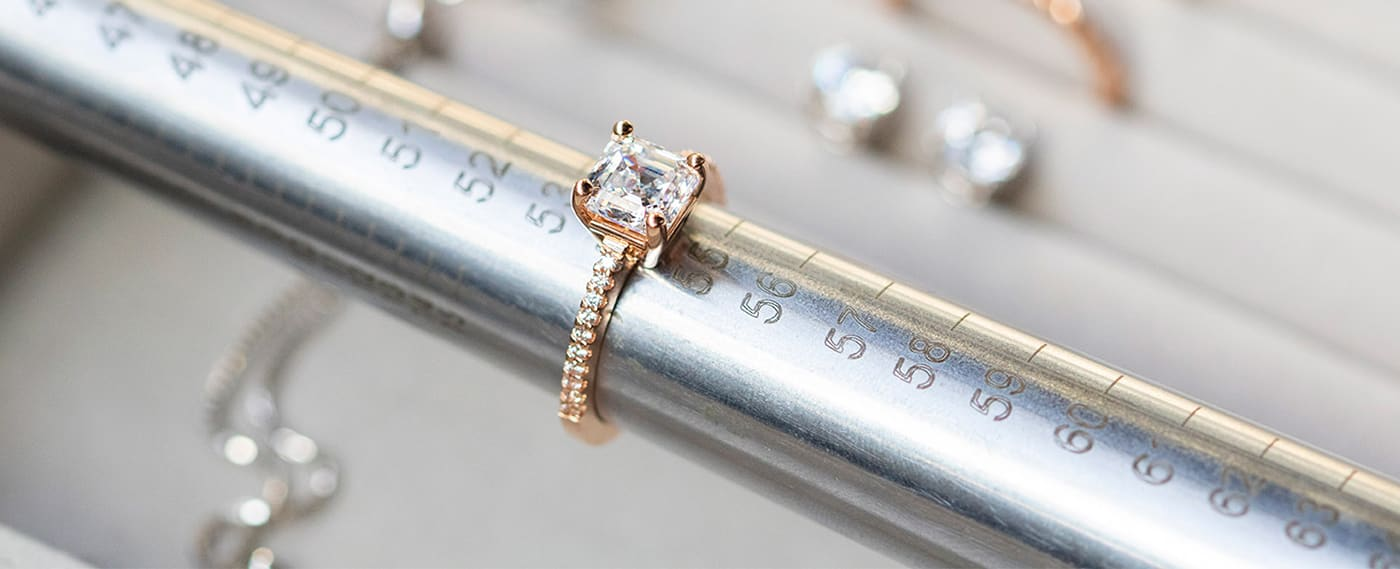 A Diamond Nexus engagement ring being sized with a mandrel.