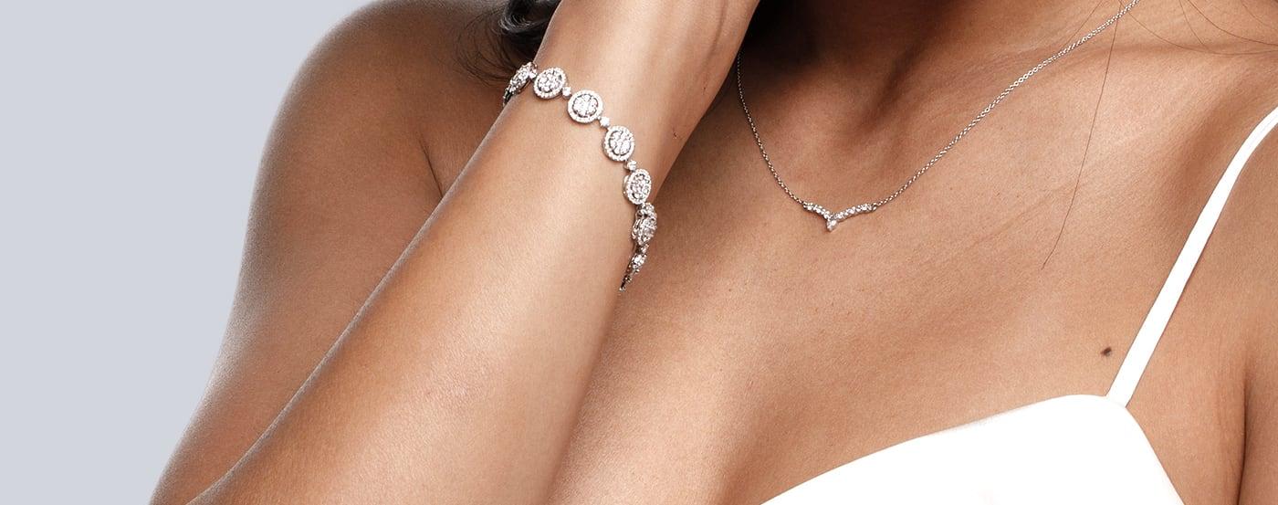 The Diamond Nexus Summer Breeze bracelet featured on a bride.