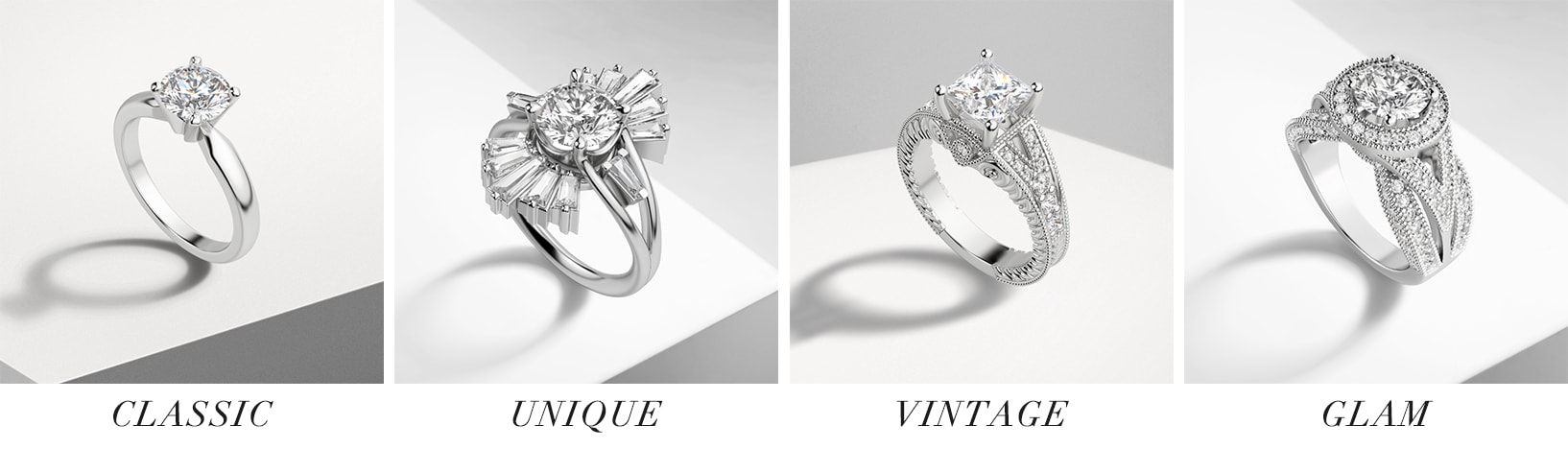 Classic, unique, vintage and glam style simulated diamond engagement rings.