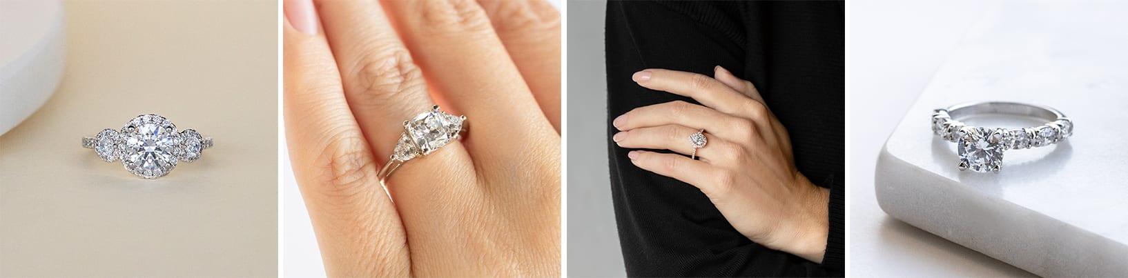 Unique simulated diamond engagement rings.