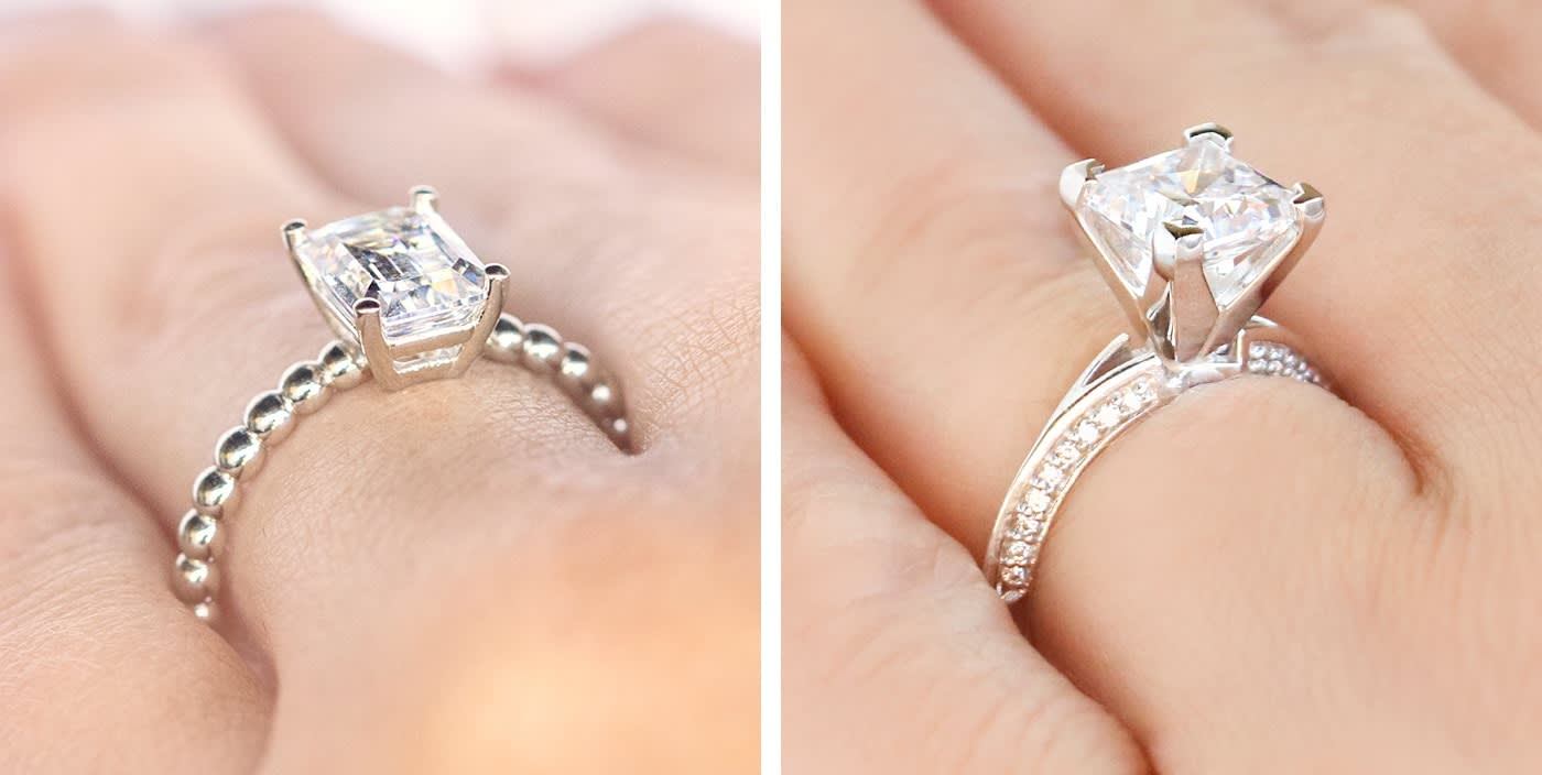 Low set engagement ring and high set engagement ring.