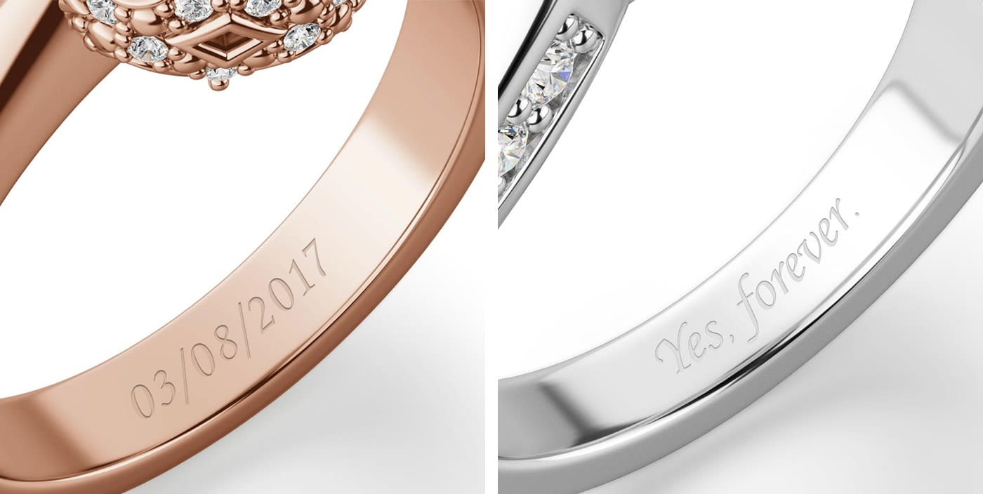 Custom engraving on the inside of an engagement ring.