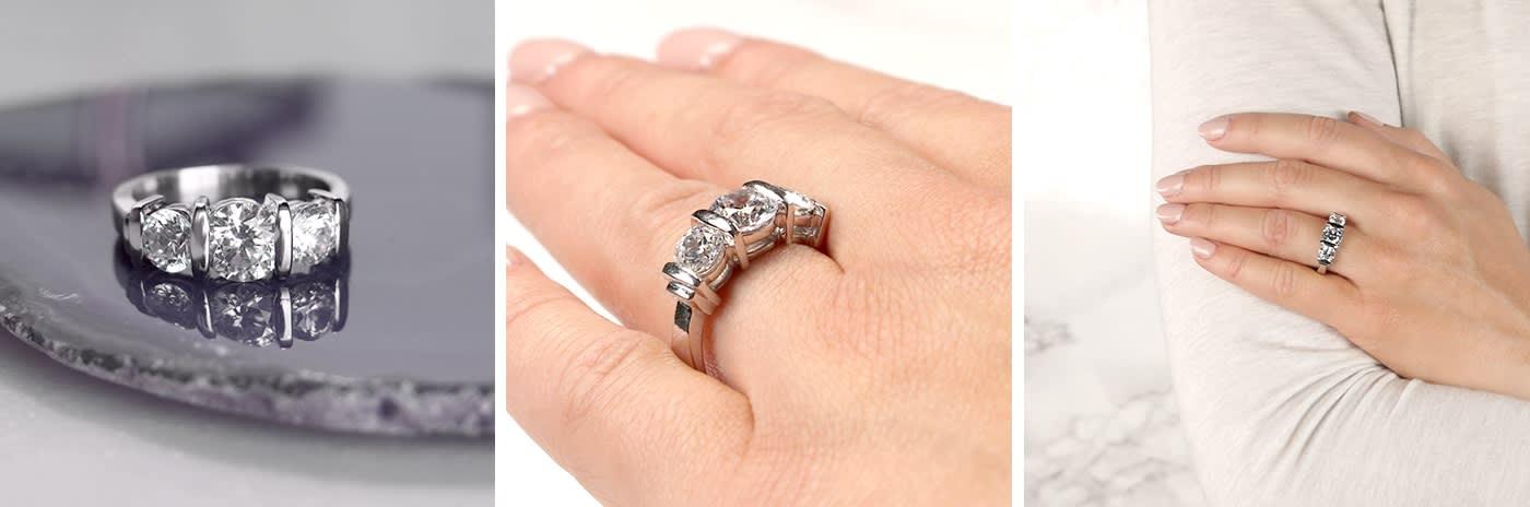 Bar-set simulated diamond engagement ring.