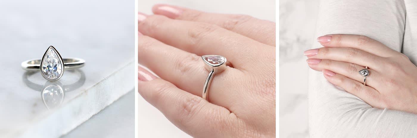 Bezel simulated diamond engagement ring.