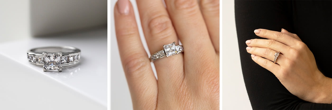 Channel-set simulated diamond engagement ring.