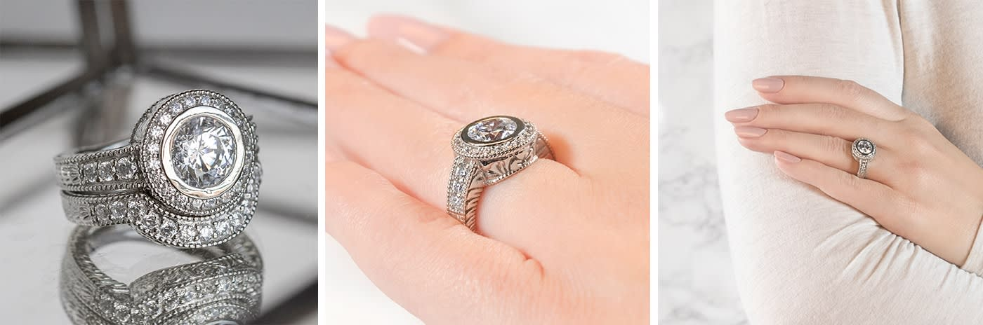 Gypsy simulated diamond engagement ring.