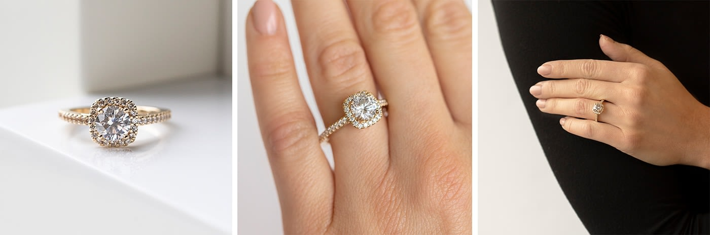 Halo simulated diamond engagement ring.