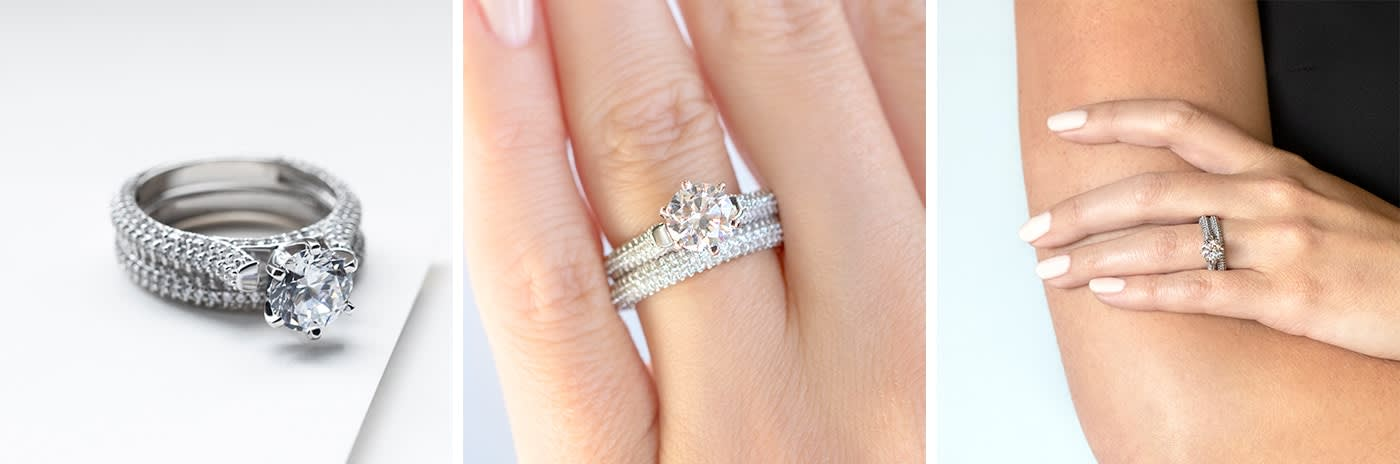 Pavé simulated diamond engagement ring.