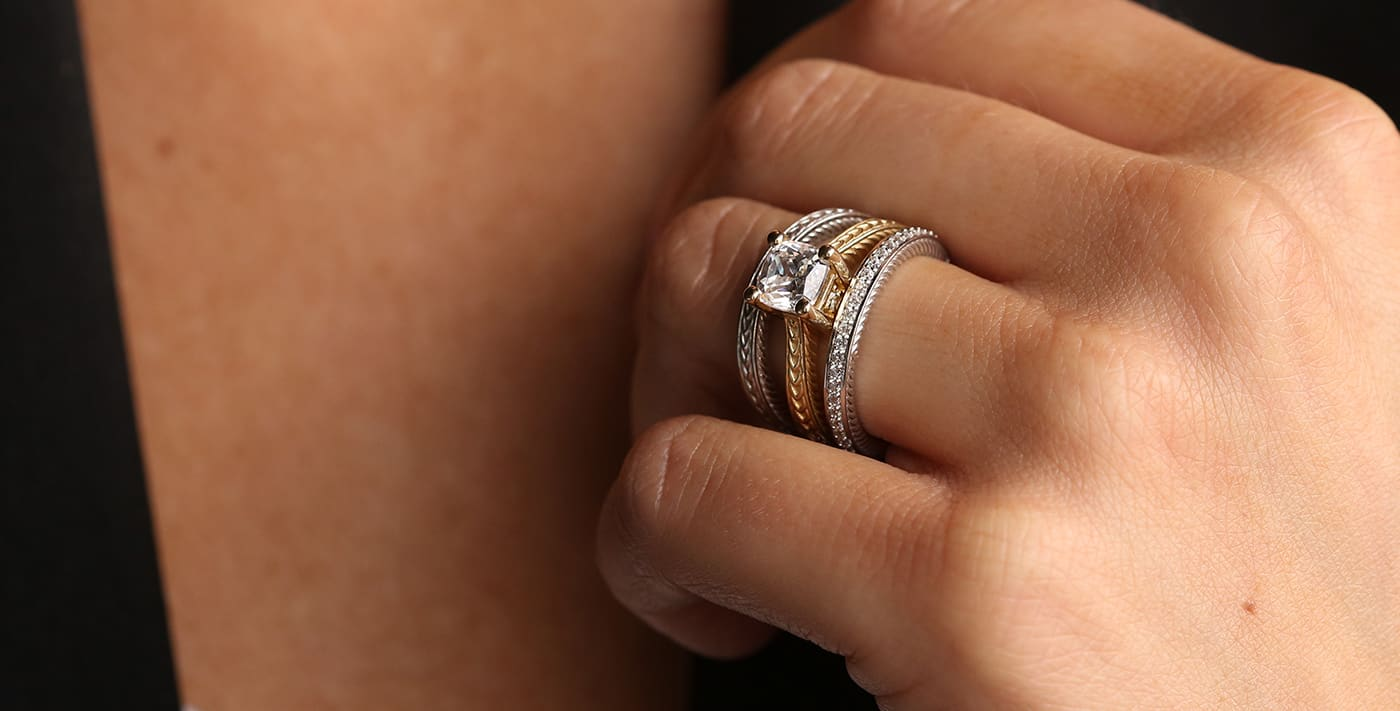 The Sage Collection wedding set featured with mixed-metals from Diamond Nexus