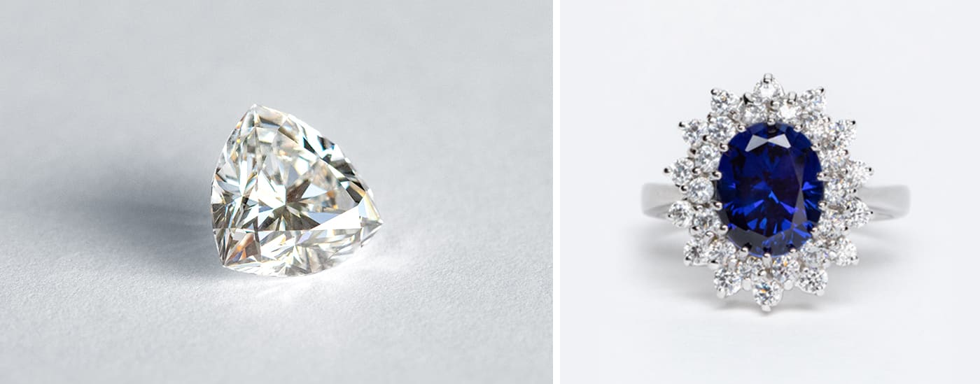 A loose Nexus Diamond™ alternative and an engagement ring featuring a lab grown sapphire.