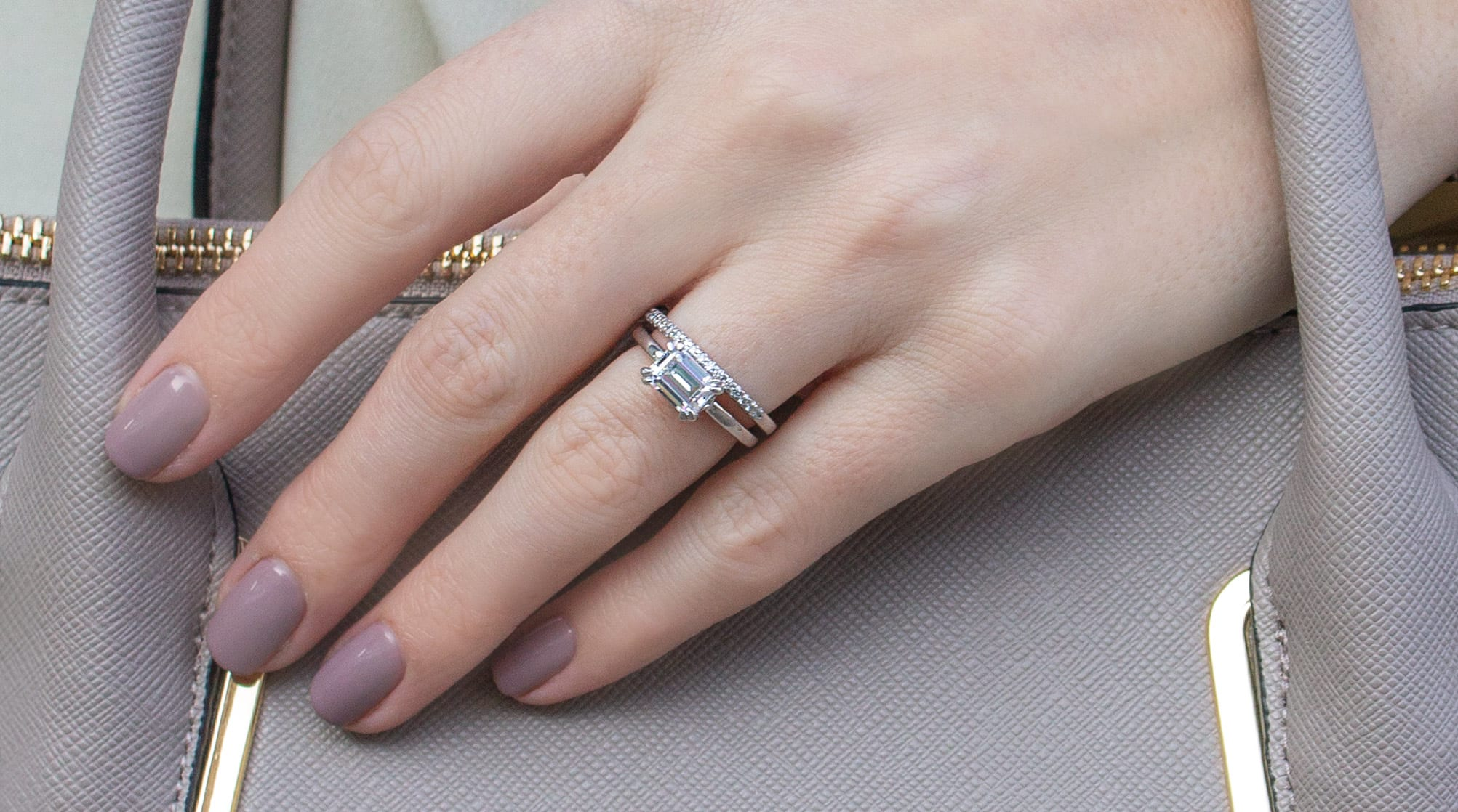 emerald cut solitaire engagement ring and simple wedding band