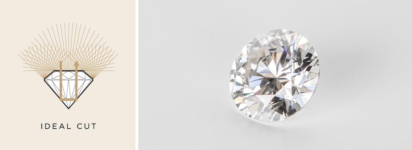 A loose Nexus Diamond alternative shown with an Ideal Cut grade.