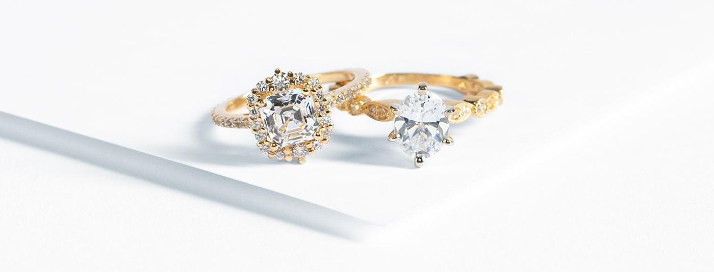 Engagement rings from Nexus Diamond featuring yellow gold metal type and Nexus Diamond alternatives.