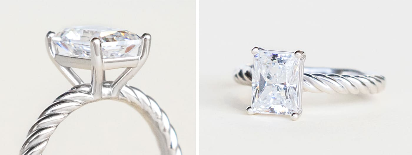 A white gold solitaire engagement ring in a basket setting