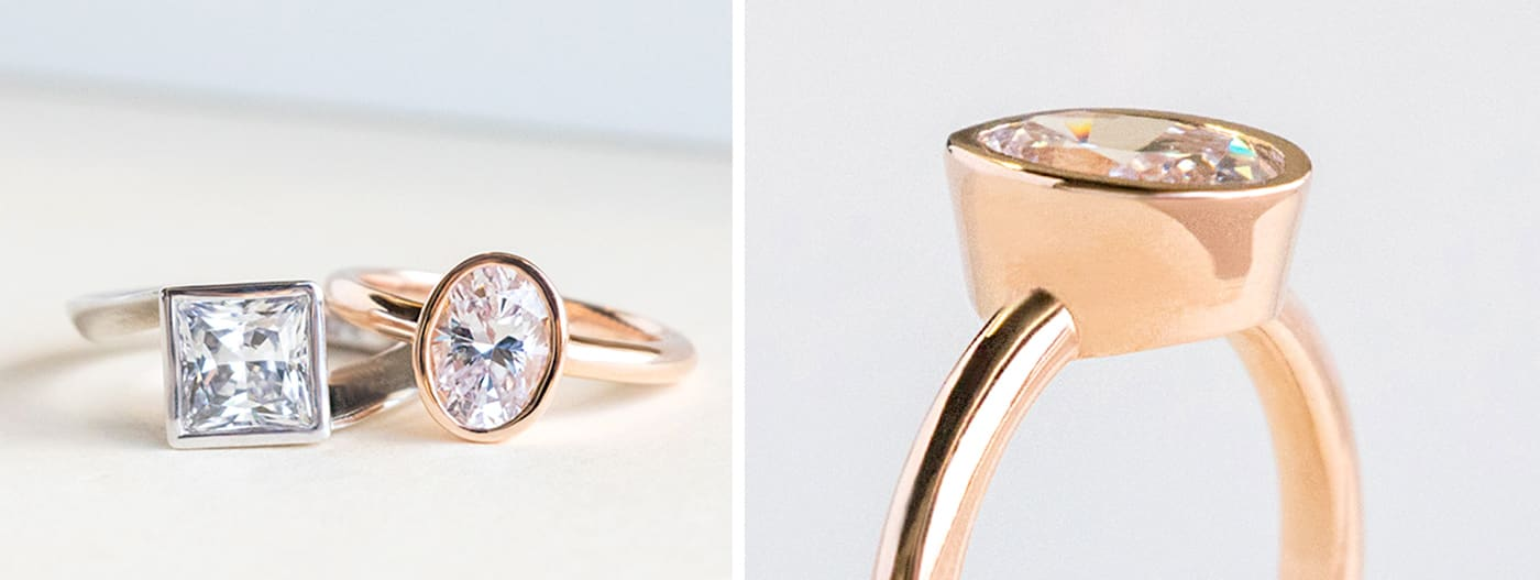A rose gold solitaire engagement ring in a bezel setting
