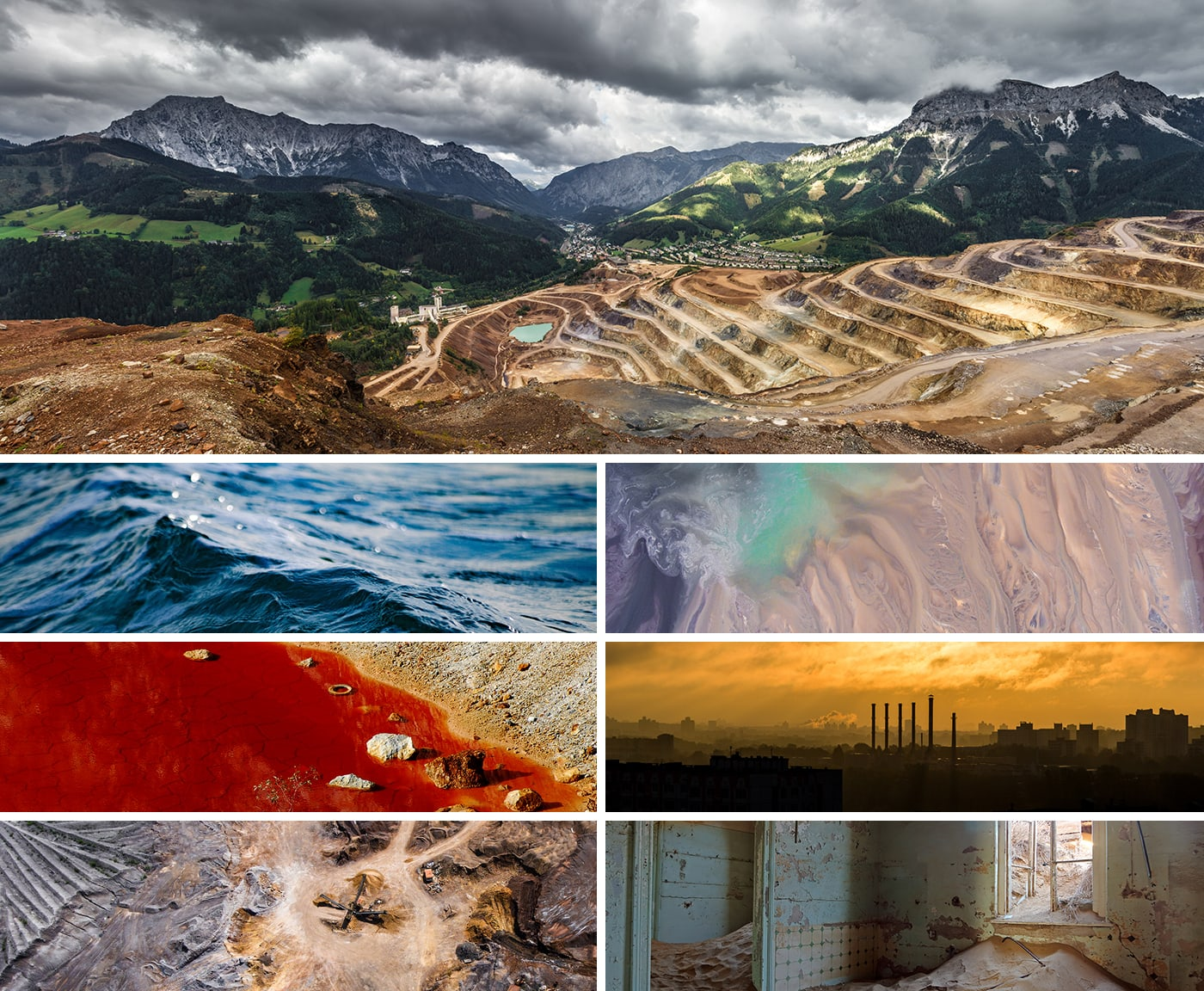 Multiple images that show the environmental devastation left behind from diamond mining.