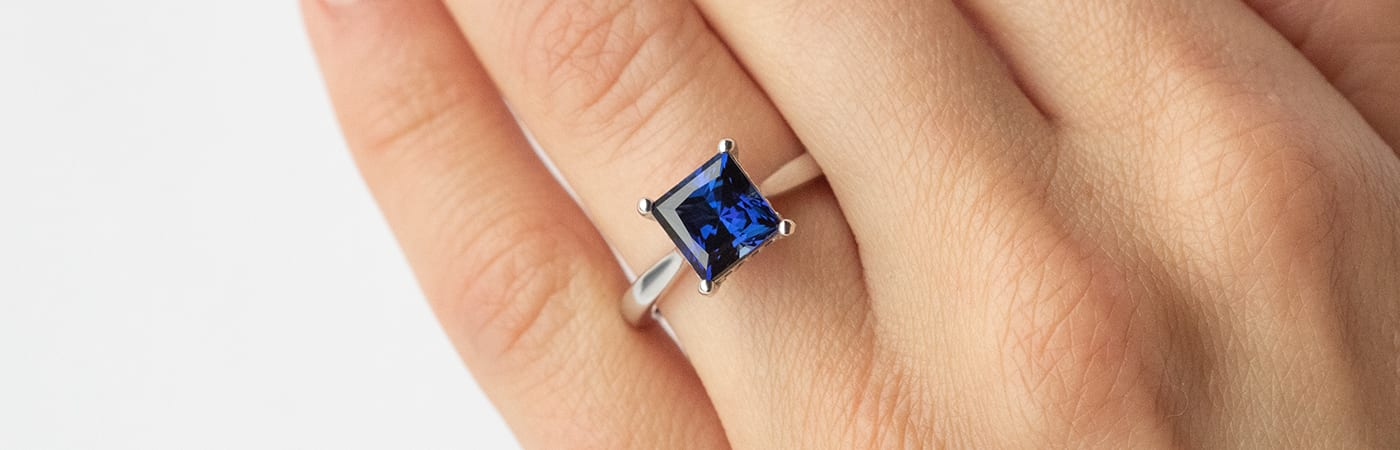 A solitaire sapphire ring from Diamond Nexus