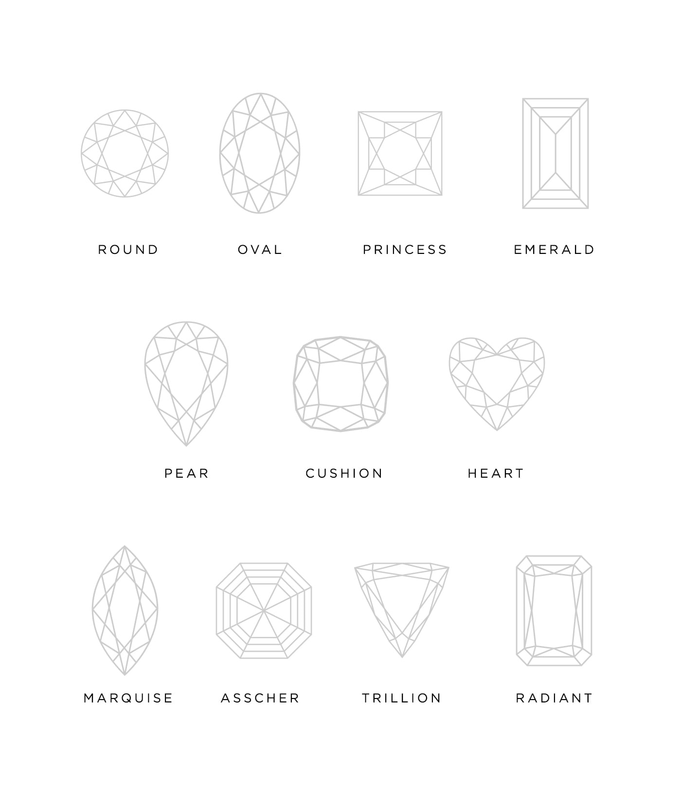 Graphics of 11 of the most popular stone cuts: Round, Oval, Princess, Emerald, Pear, Cushion, Heart, Marquise, Asscher, Trillion and Radiant.