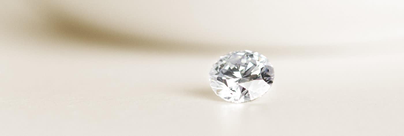 A loose Round Brilliant cut Nexus Diamond alternative.