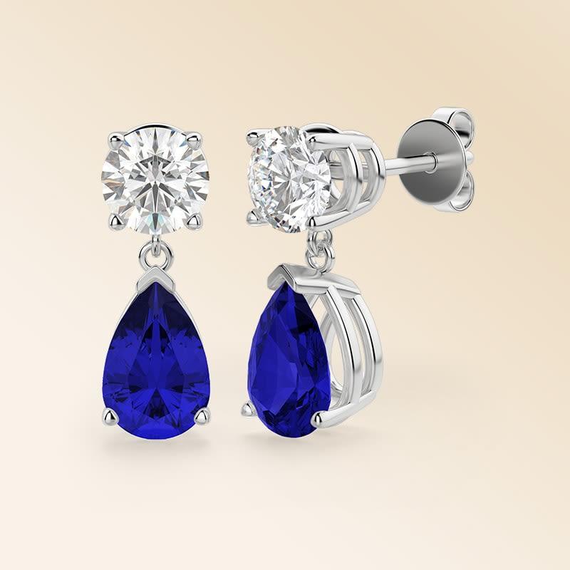 Leto Pear Cut Sapphire Drop Earrings >