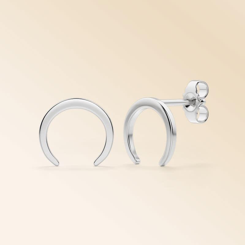 Crescent Stud Earrings >