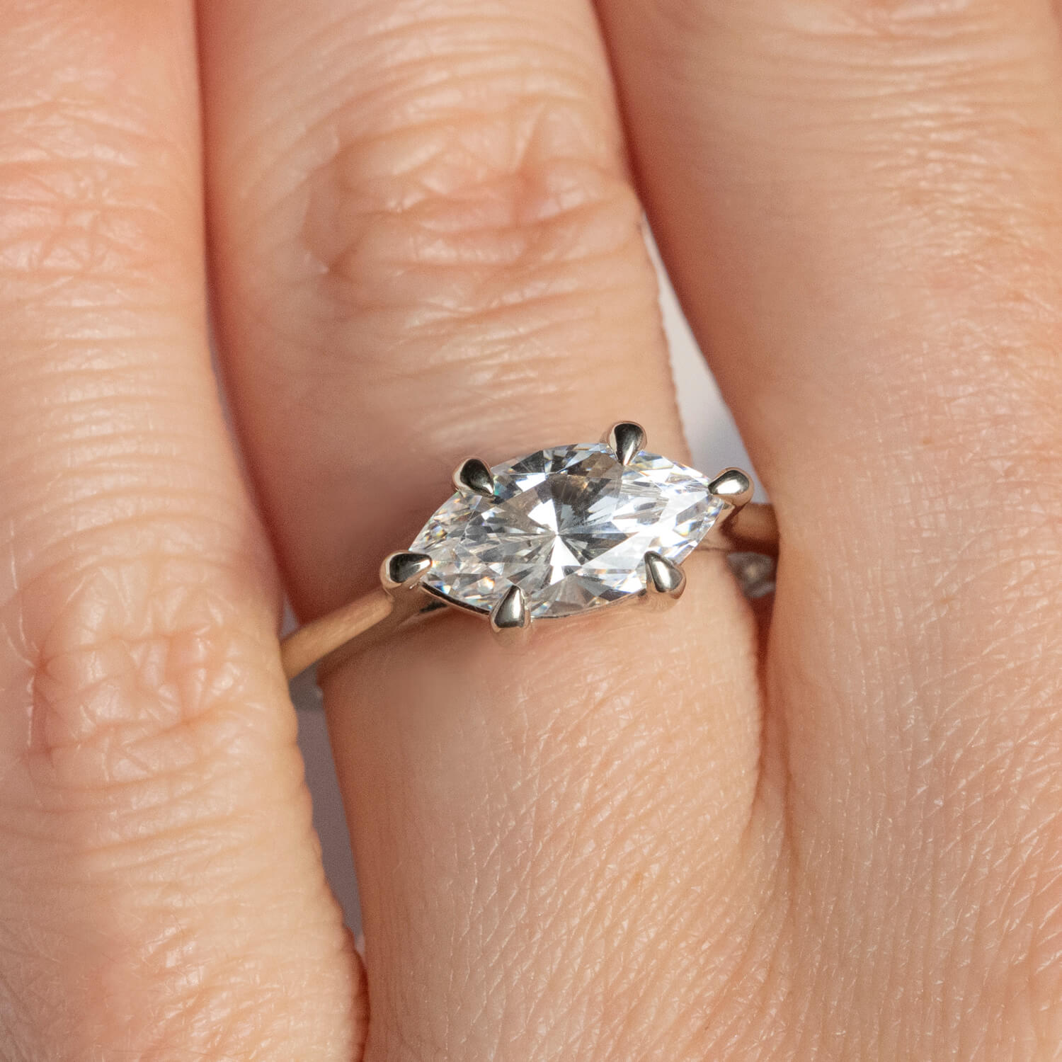 East-West Classic Trellis Marquise Cut Engagement Ring