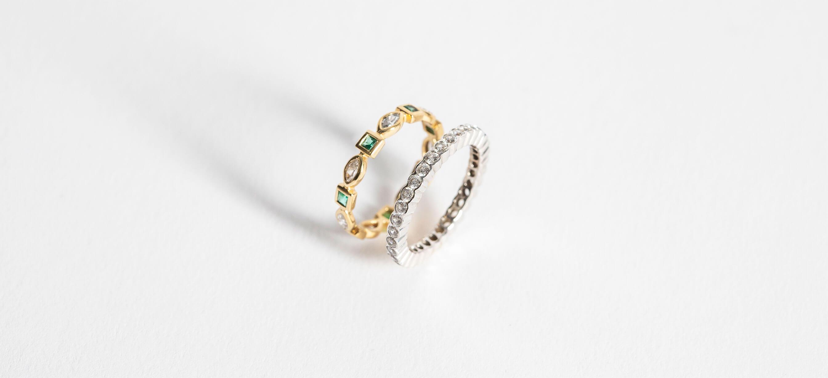 Diamond Nexus wedding rings in mixed metals.