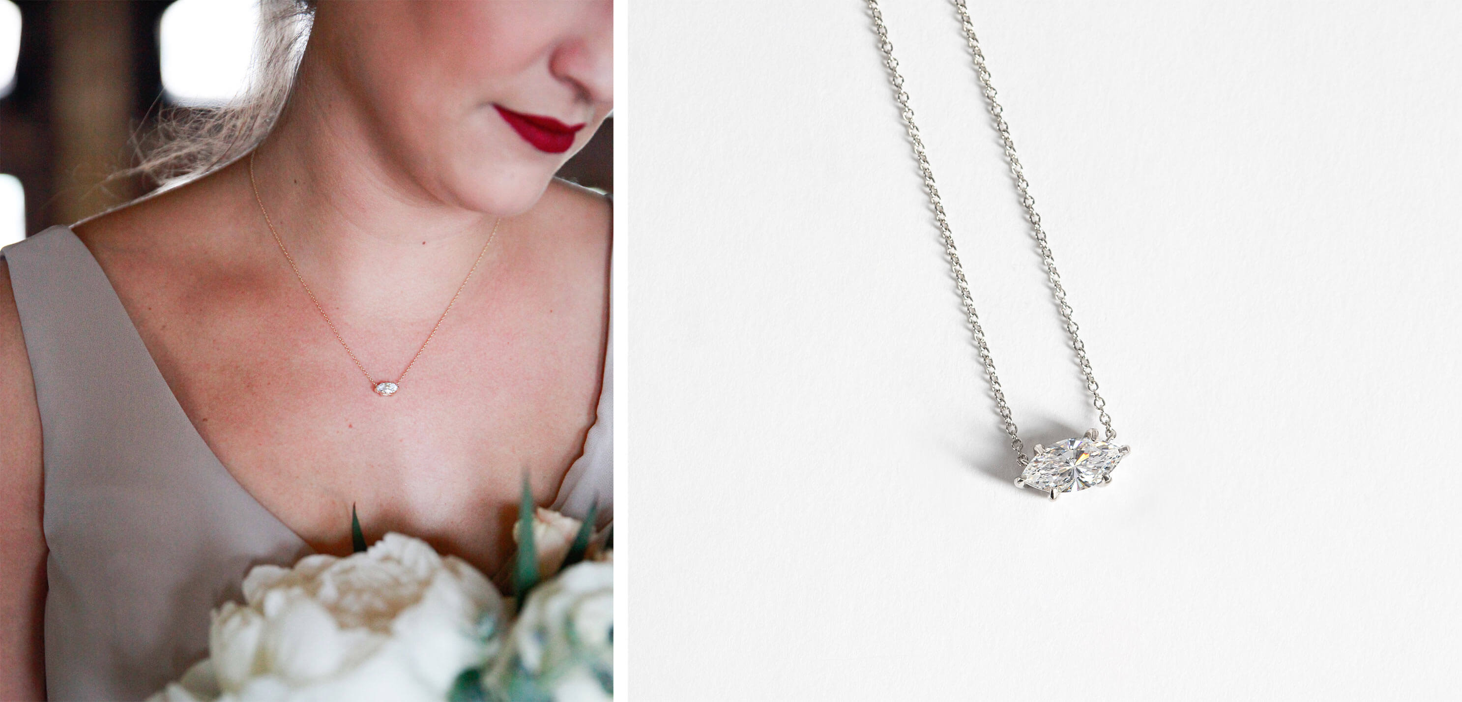East-West Marquise Necklace from Diamond Nexus.
