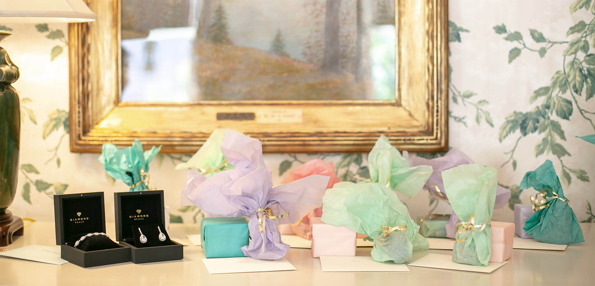 Assorted Diamond Nexus bridal party gifts.