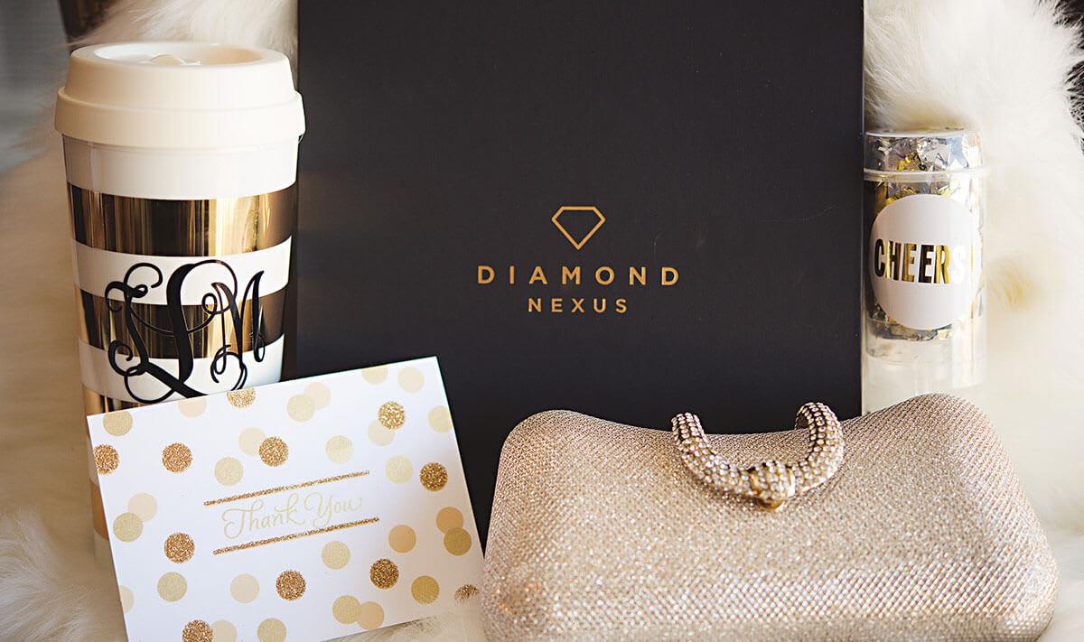 A piece of Diamond Nexus jewelry among an assorted bridal gift.