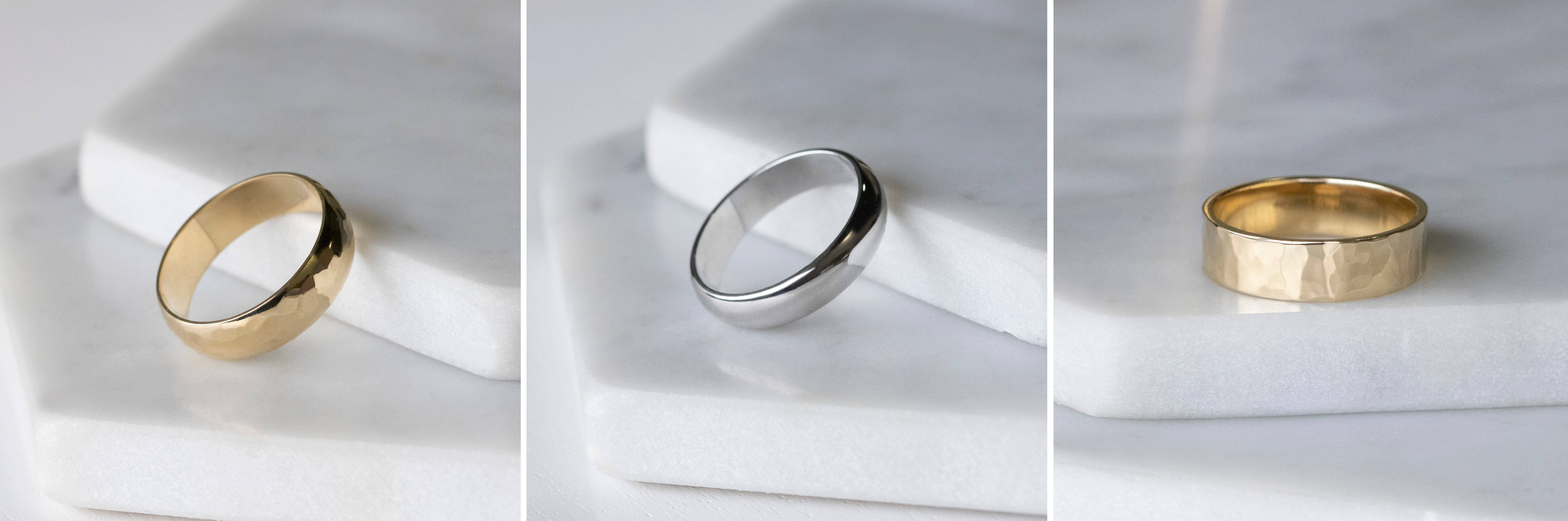Hammered and sleek styles of men's wedding bands.