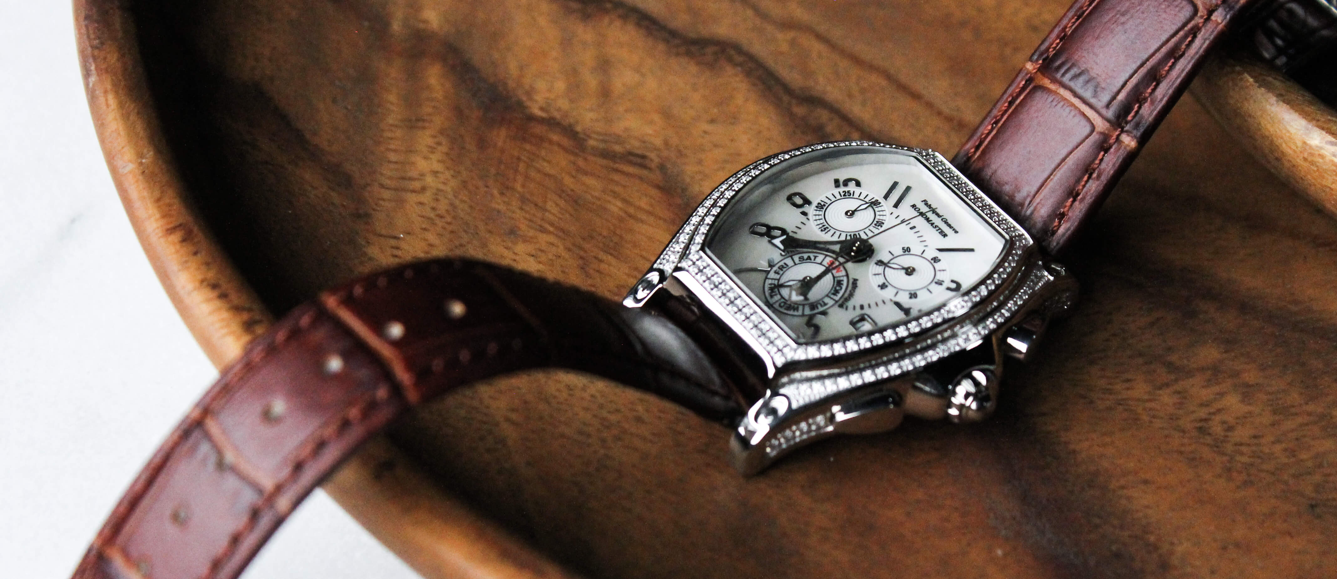 A close-up of a men's luxury watch.