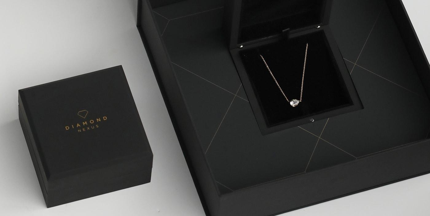 Diamond Nexus simulated diamond necklaces.