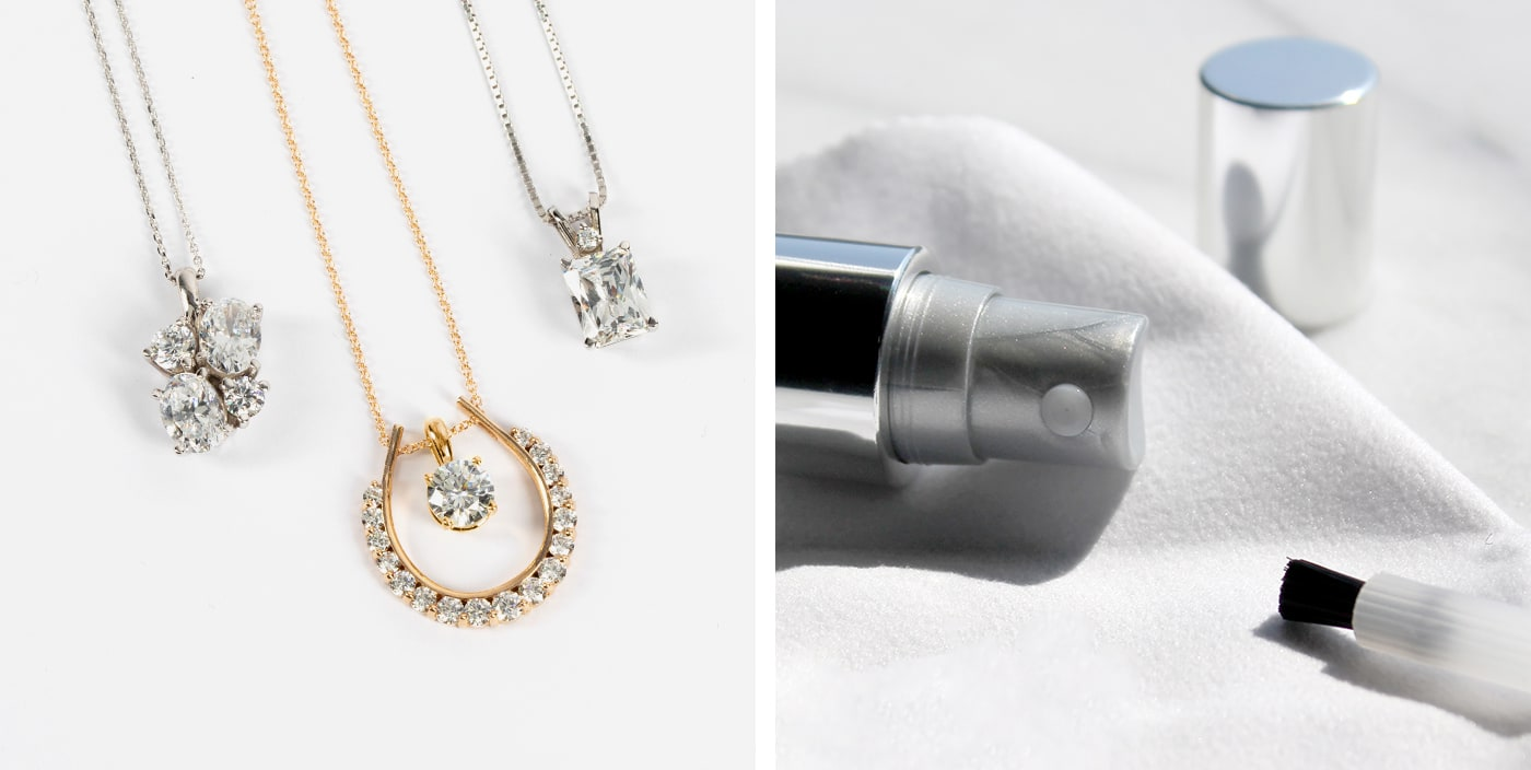 Diamond Nexus simulated diamond necklaces and jewelry cleaner.
