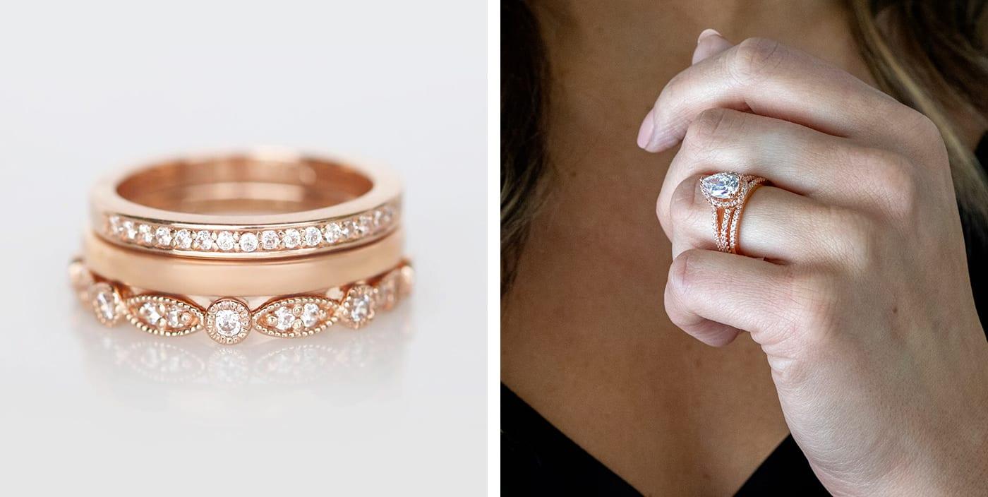 Rose gold Diamond Nexus wedding ring stack & halo engagement ring.